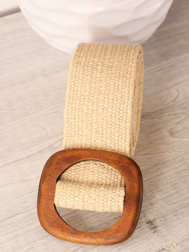 Cinturón Rafia Madera