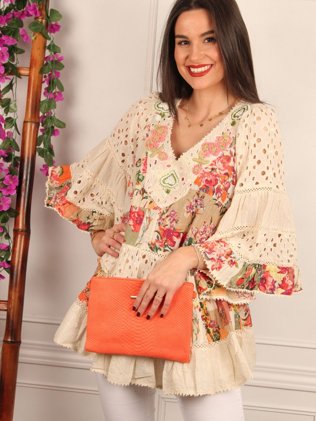 Blusón Boho con estampado floral naranja
