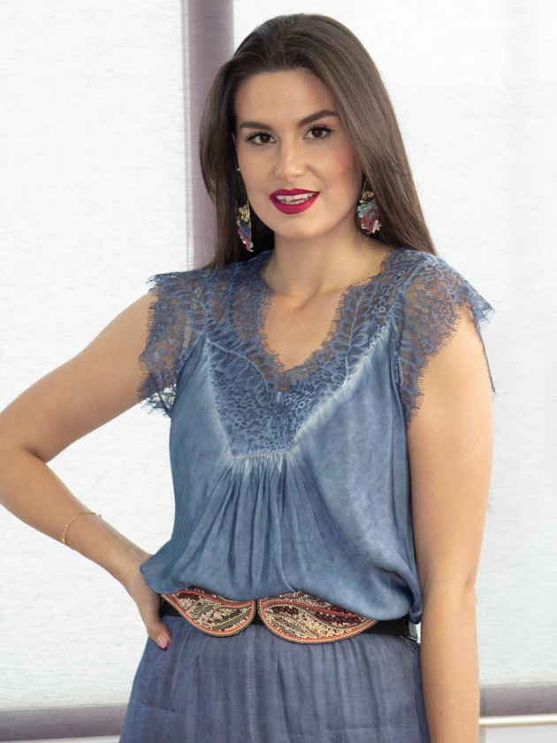 Camiseta Lencera Azul
