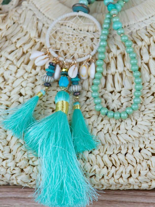 collar largo color turquesa con plumas
