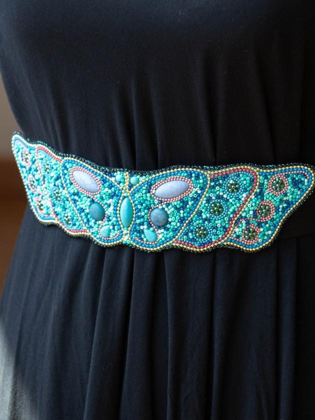 Cinturón estilo Boho turquesa