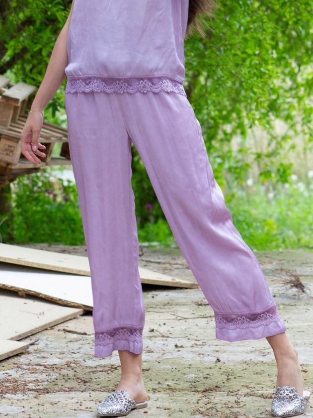Pantalón lencero malva