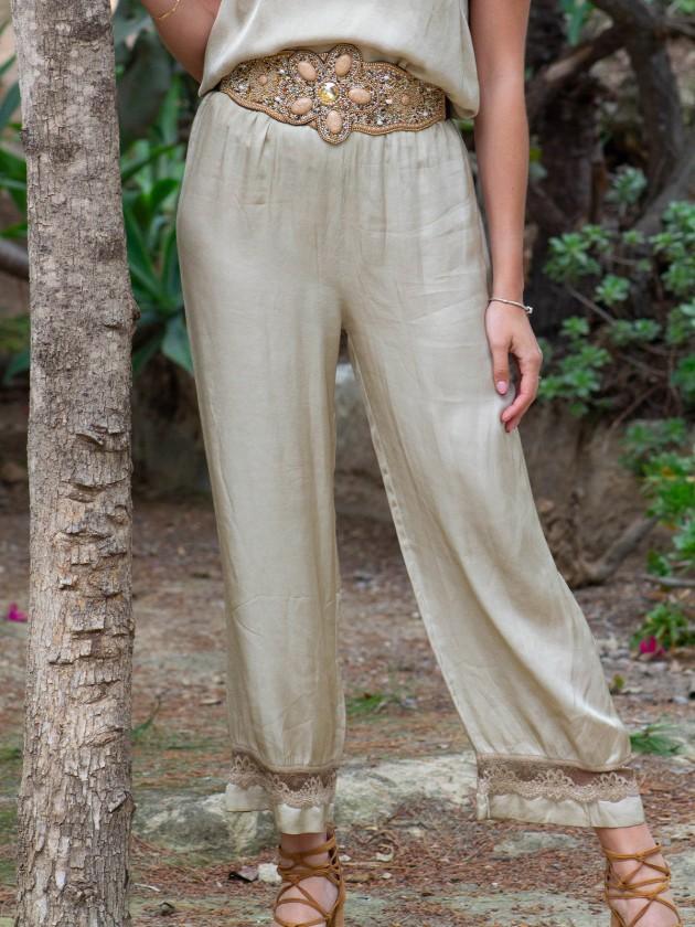 Pantalón lencero bronce