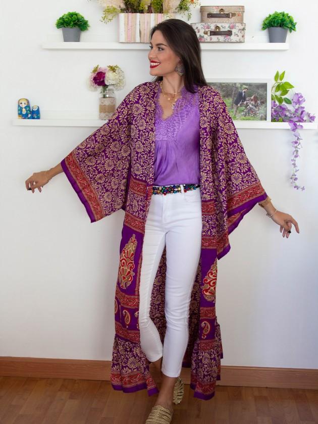 Kimono largo morado