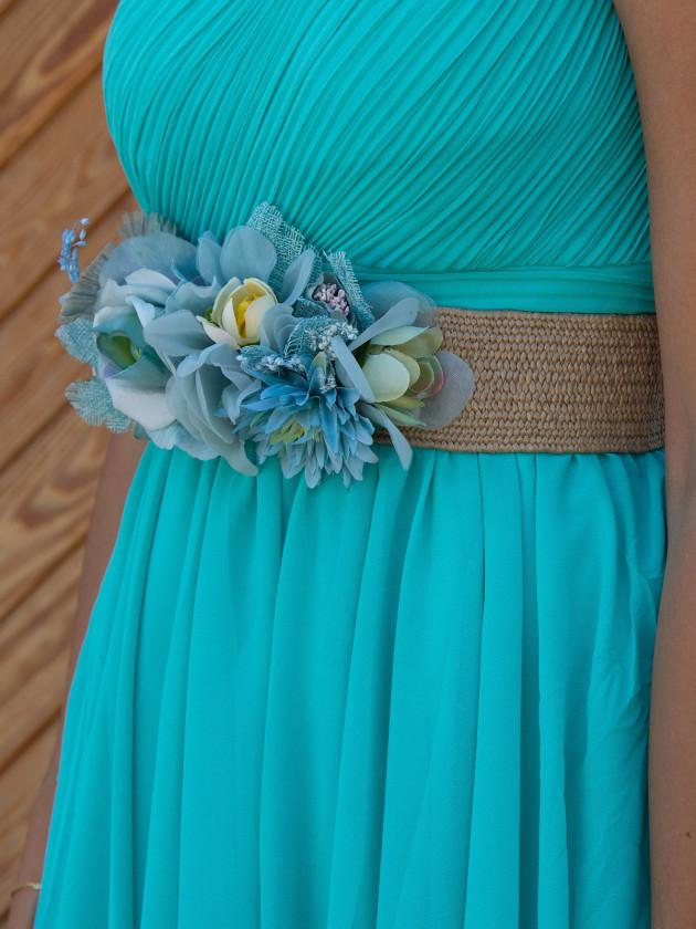 Cinturón Rafia Flores Azules