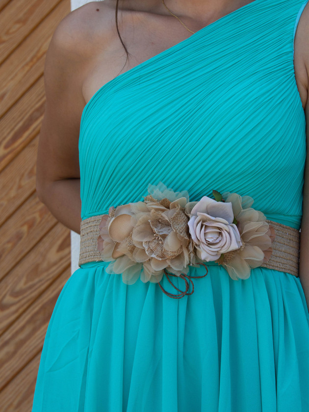 Cinturón Rafia Flores