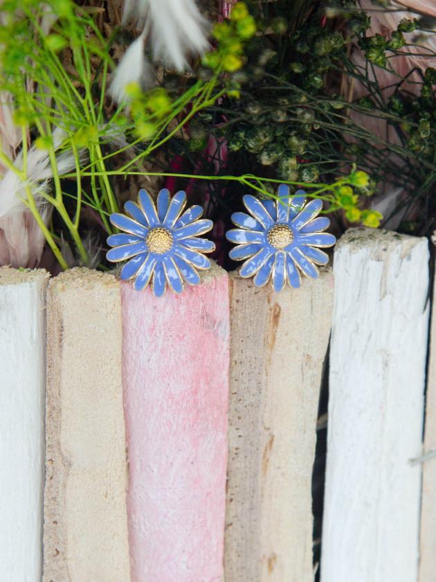 Pendiente Flor Azul