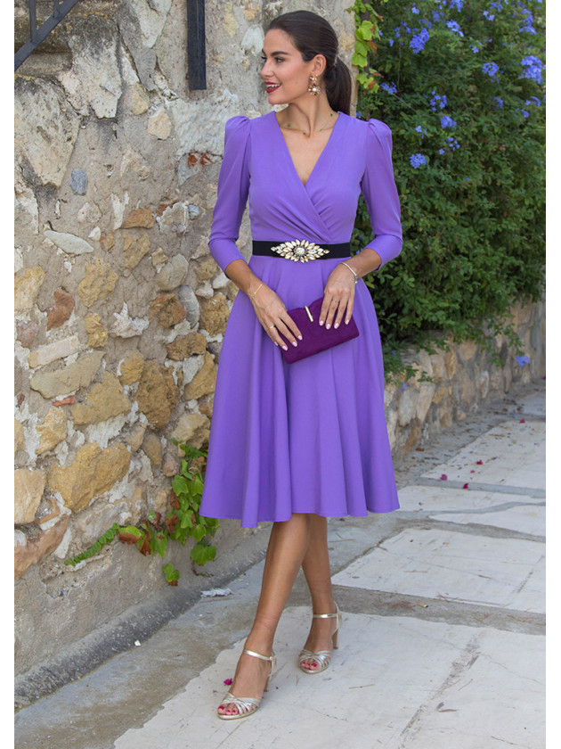 Vestido evasé lila