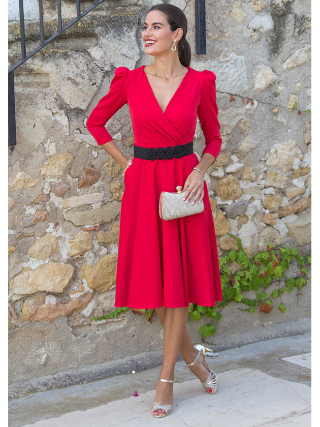 Vestido evasé rojo