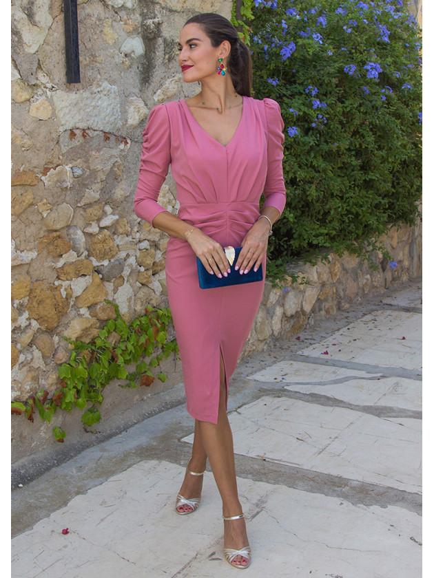 Vestido fruncido rosa
