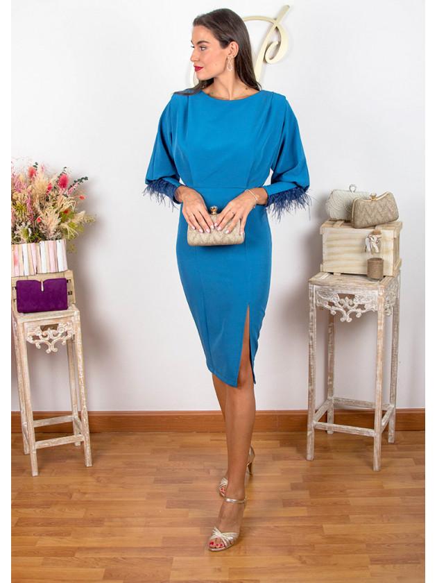 Vestido fiesta plumas azul